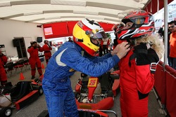 Go-kart celebrity race: Adrian Carrio helps a charming TV reporter