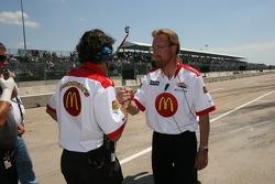 Newman/Haas/Lanigan Racing crew members celebrate as Sébastien Bourdais clinches the provisional pole