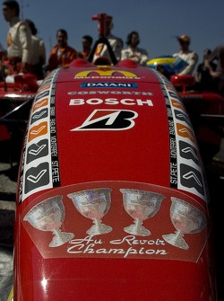 Championship decals on the car of Sébastien Bourdais
