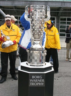 The Borg Warner Trophy arrives without the famous top
