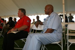 Boxing legend George Foreman with reverend Bob Hills during the morning service