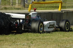 Tomas Scheckter misses the tire wall and thuds the concrete