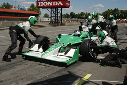A pit stop for Ed Carpenter tires on