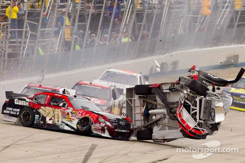 Clint Bowyer and Joey Logano have a massive crash