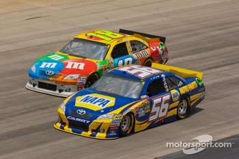 Martin Truex Jr., Michael Waltrip Racing Toyota and Kyle Busch, Joe Gibbs Racing Toyota