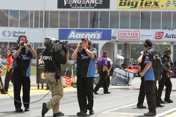 Dave Connelly and ZaZa Energy Drink crew members moments after Erica Enders first round win