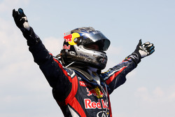 Sebastian Vettel, Red Bull Racing, celebrates victory in parc ferme