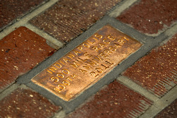 A bronze brick to commemorate the 100th anniversary of the Indy 500