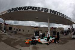 Car of Charlie Kimball, Novo Nordisk Chip Ganassi Racing at refuel station