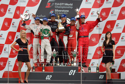 Podium from left: #7 Young Driver AMR Aston Martin DBR9 GT1: Tomas Enge, Alex Muller #23 JR Motorsports Nissan GT-R GT1: Michael Krumm, Lucas Luhr and #11 Exim Bank Team China Corvette Z06 GT1: Mike Hezemans, Nick Catzburg