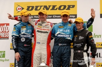 Round 10 Podium: 1st Gordon Shedden, 2nd Jason Plato, 3rd Alex MacDowall and Independent Winner James Nash