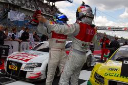 Race winner Martin Tomczyk, Audi Sport Team Phoenix celebrates with Timo Scheider, Audi Sport Team Abt
