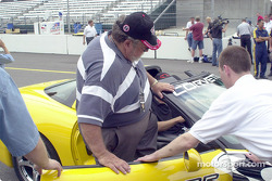 Motorsport.com's Rich Romer get a fast lap on the track in the pace car