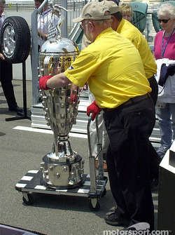 Rolling the Borg-Warner trophy back to the museum