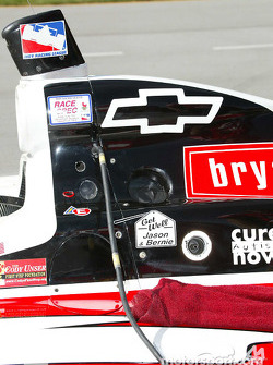 A get well message for injured Kelley Racing team members, IPS driver Jason Priestley and crew member Bernie Hallisky