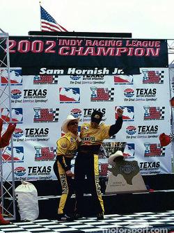 Sam Hornish Jr. celebrates