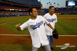 Baseball game at Dodgers Stadium: Helio Castroneves and Gil de Ferran