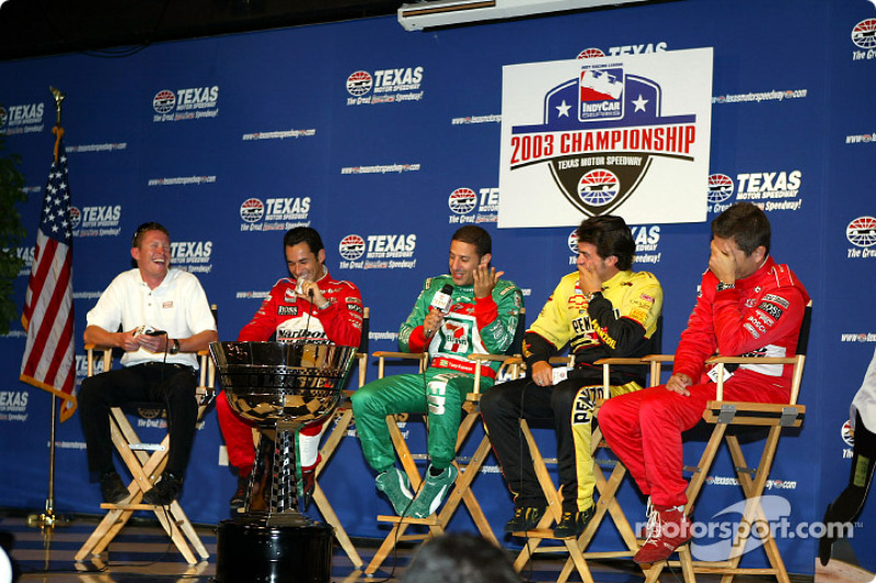 These guys have 12 Texas Motor Speedway wins between them (so far): Scott Dixon (3) , Helio Castroneves (4), Tony Kanaan (1), Sam Hornish Jr. (3) and Gil de Ferran (1).