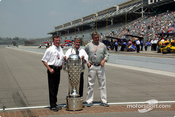 Indy 500 winners Johnny Rutherford, Al Unser Sr. and Eddie Cheever with the Borg-Warner Trophy