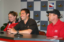 Sarah Fisher, Larry Foyt and Al Unser Jr. at the afternoon press conference