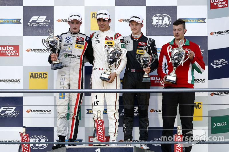 Podium : le vainqueur Lance Stroll, Prema Powerteam Dallara F312 - Mercedes-Benz; le deuxième Joel Eriksson, Motopark Dallara F312 - Volkswagen; le troisième Callum Ilott, Van Amersfoort Racing Dallara F312 - Mercedes-Benz.