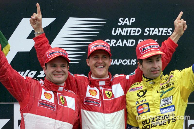 2000 (Індіанаполіс). Подіум: 1. Міхаель Шумахер, Ferrari. 2. Рубенс Баррікелло, Ferrari. 3. Хайнц-Харальд Френтцен, Jordan - Mugen Honda