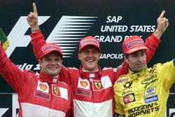 Podium: 2. Rubens Barrichello, Ferrari; 1. Michael Schumacher, Ferrari; 3. Heinz Harald Frentzen, Jordan