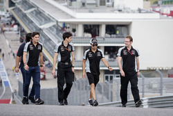 (L to R): Alfonso Celis Jr, Sahara Force India F1 Development Driver; Tim Wright, Sahara Force India F1 Team Race Engineer; and Sergio Perez, Sahara Force India F1 walk the circuit