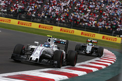 Felipe Massa, Williams Martini Racing FW38 leads Sergio Perez, Force India F1 VJM09