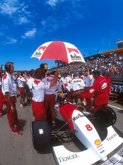 Ayrton Senna, McLaren on the grid