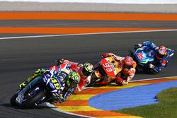 Valentino Rossi, Yamaha Factory Racing; Andrea Iannone, Ducati Team; Marc Marquez, Repsol Honda Team; Maverick Viñales, Team Suzuki Ecstar MotoGP