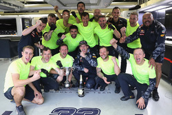 Max Verstappen, Red Bull Racing celebrates finishing third