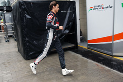 Esteban Gutierrez, Haas F1 Team after he retired from the race