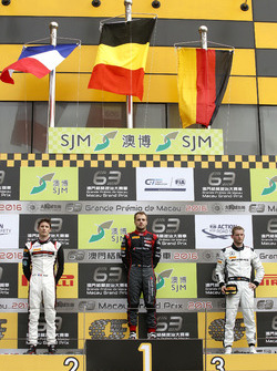 Podium: Race winner Laurens Vanthoor, Audi Sport Team WRT Audi R8 LMS; second place Kévin Estre, Manthey Racing Porsche 911 GT3-R; third place Maro Engel, Mercedes-AMG Driving Academy Mercedes-AMG GT3