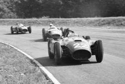 Juan Manuel Fangio, Lancia-Ferrari D50; Stirling Moss, Maserati 250F; Peter Collins, Lancia-Ferrari D50