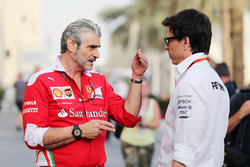 Maurizio Arrivabene, Ferrari Team Principal with Toto Wolff, Mercedes AMG F1 Shareholder and Executive Director