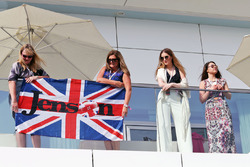 Jenson Button, McLaren flag and fans