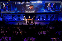 Nick Hamilton accepts the British Competition driver of the year award on behalf of his brother Lewis Hamilton