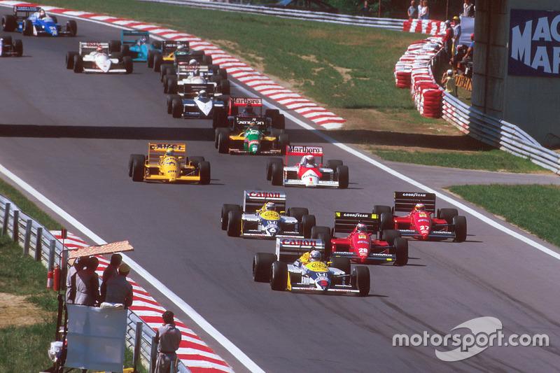 Nigel Mansell, Williams FW11B Honda, Gerhard Berger, Ferrari F187, Michele Alboreto, Ferrari F187, Nelson Piquet, Williams FW11B Honda, Alain Prost, McLaren MP4/3 TAG Porsche, ve Ayrton Senna, Team Lotus Honda 99T