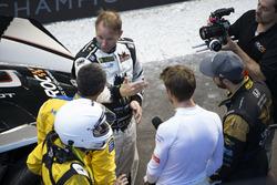 Petter Solberg, talks with Juan Pablo Montoya, Jenson Button and James Hinchcliffe,