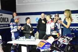 Jorge Martín, Gresini Racing Team y Fabio Di Giannantonio, Gresini Racing Team con Fausto Gresini, Team Manager y Jorge Navarro, Federal Oil Gresini Moto2
