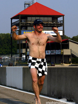 Patrick Carpentier following a vow after qualifying on Saturday that if he won the race and had a perfect weekend that he would run the race track naked…