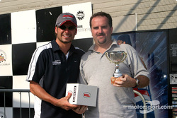Rocketsports-Tagliani karting event: media race podium, Alex Tagliani and Motorsport.com's Eric Gilbert