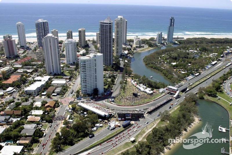 Vista aérea del circuito de Gold Coast