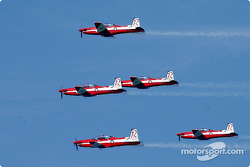 The RAAF Roulettes perform for the crowd