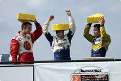 Podium: race winner Alex Tagliani with Rodolfo Lavin and Sébastien Bourdais