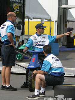 Forsythe Championship Racing crew members at technical inspection