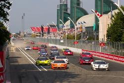 Start: #77 Ferrari of Silicon Valley Ferrari 458 Challenge: Harry Cheung and #20 Ferrari of Houston Ferrari 458 Challenge: Cooper MacNeil lead the field