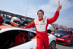 Race winner #77 Ferrari of Silicon Valley Ferrari 458 Challenge: Harry Cheung celebrates