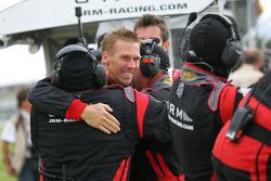 Race winner Michael Krumm celebrates